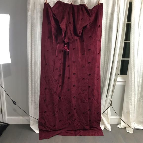 Vintage Other - evandale Burgundy Flower Embroidered Silk Curtains